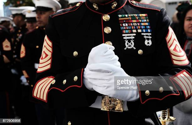 Marines prepare to march in the Veterans Day Parade on November 11, 2017 in New York City. The largest Veterans Day event in the nation, this year's...