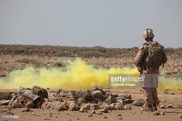 Marines provide security while smoke marks a landing zone.