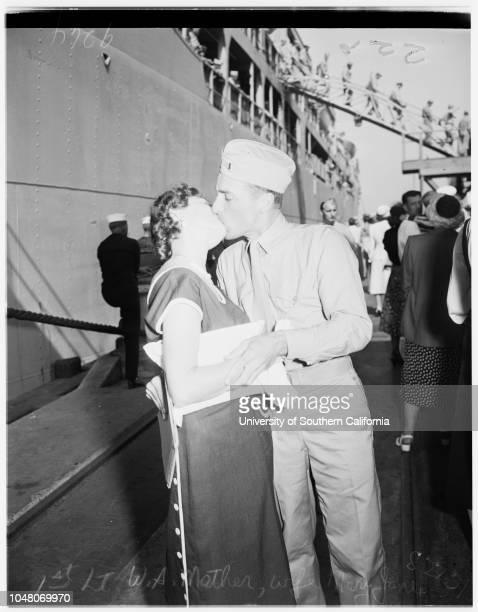 Marines return from Korea 27 August 1951 Carroll BoyerWalter RoneyMrs Anna RoneyCorporal Herbert Roney 22 yearsMrs Irene O'GradyMichael O'Grady 6...
