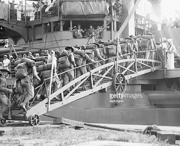 US Marines Sail for Haiti Marines boarding the USS Connecticut at League Island Navy Yard Philadelphia July 31 when 500 marines sailed for...
