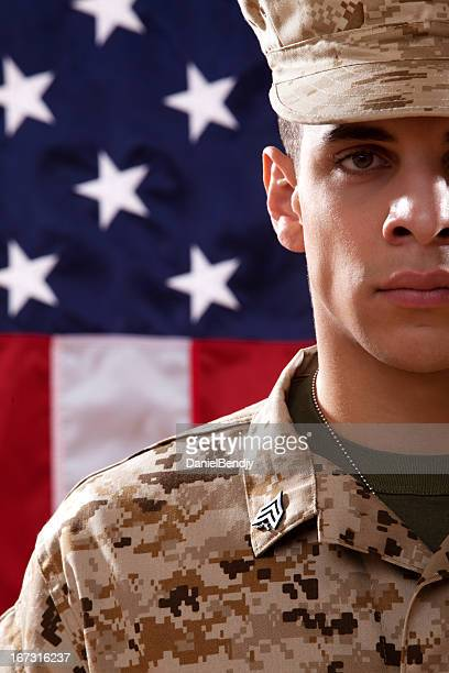 us marines soldier portrait - us marine corps stock pictures, royalty-free photos & images
