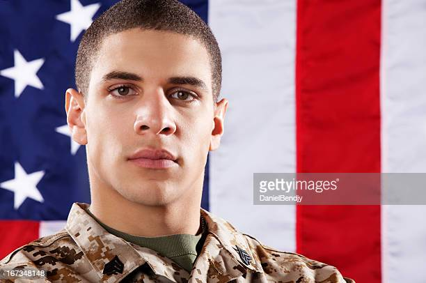 us marines soldier portrait - marine corps flag stock pictures, royalty-free photos & images