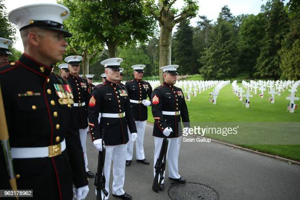 S Marines stand near the graves of US soldiers most of them killed in the World War I Battle of Belleau Wood before a ceremony to commemorate the...