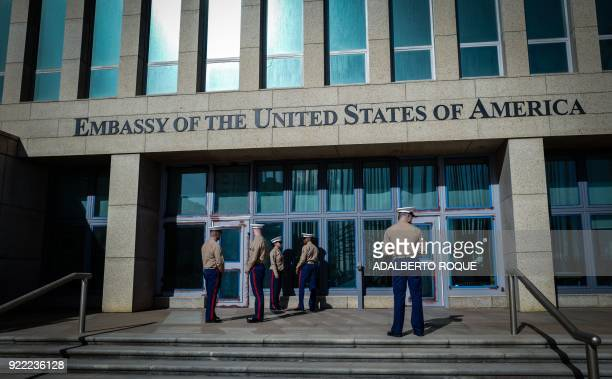 US Marines stand outside the Embassy of the United State of America in Havana on February 21 2018 / AFP PHOTO / ADALBERTO ROQUE