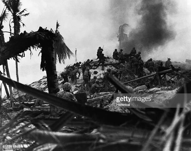 US Marines storm Tarawa during World War II