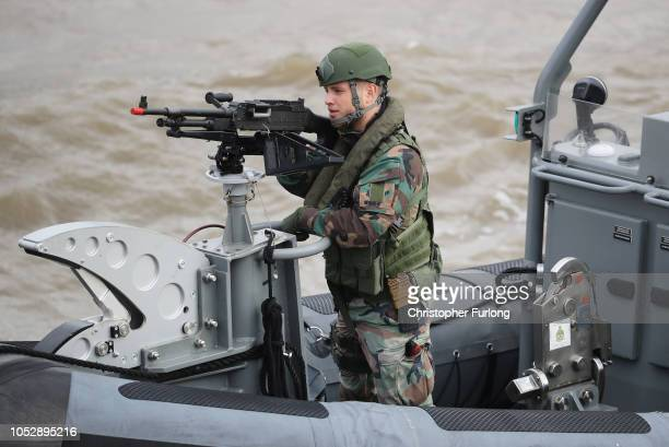 Marines take part in an on-water capability demonstration by Royal Marines and HNLMS Zeeland's Marines company watched by King Willem-Alexander of...