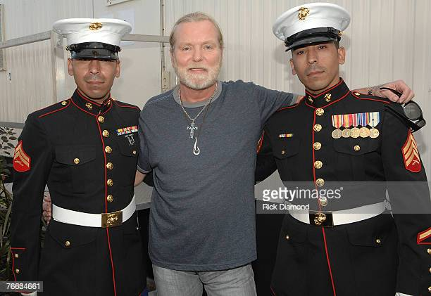 Marines Twins Daniel Mead and David Mead back from Iraq meet Gregg Allman Backstage at Farm Aid 2007 AT ICAHN Stadium on Randall's Island NY...