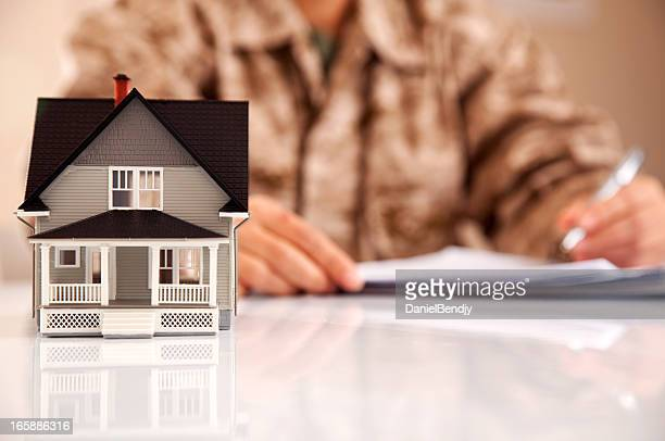Marines Uniformed Personel with Real Estate Paperwork