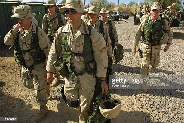 S Marines with the 24th Marine Regiment prepare for security duty February 24 2003 at Camp Lemonier in Djibouti The US military has approximately...