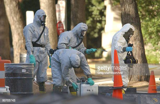 Marines with the Chemical Biological Incident Responce Force working in hazmat as they decontaminate the Longworth House Office building of Anthrax.