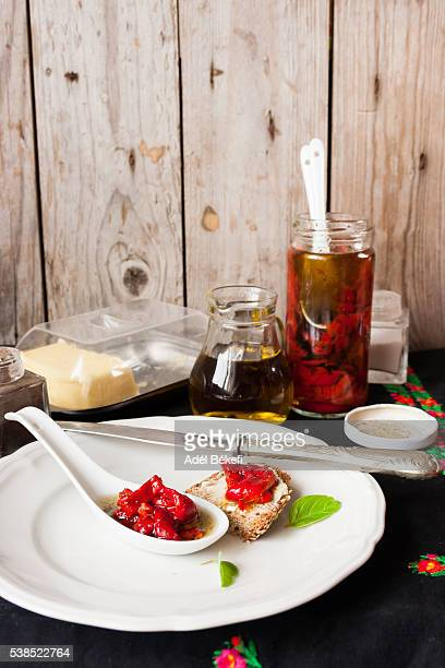 Marineted red peppers in olive oil