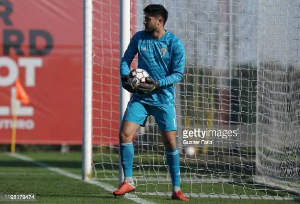 Maringa of UD Vilafranquense holds the ball during the Liga Pro match between SL Benfica B and UD Vilafranquense at Benfica Campus on February 2 2020...