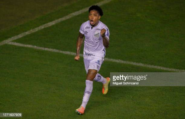 Marinho of Santos celebrates after scoring his second goal and team's third goal during a match between Santos and Atletico MG as part of Brasileirao...
