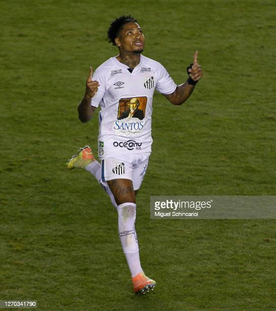 Marinho of Santos celebrates after scoring his team's second goal during a match between Santos and Vasco as part of Brasileirao Series A 2020 at...
