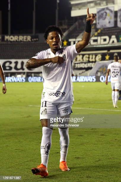 Marinho of Santos celebrates after scoring the second goal of his team during a quarter final second leg match between Santos and Gremio as part of...