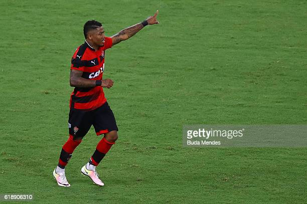 Marinho of Vitoria celebrates a scored goal during a match between Fluminense and Vitoria as part of Brasileirao Series A 2016 at Maracana stadium on...