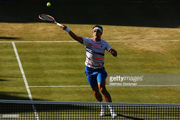 Marinko Matosevic of Australia in action against Stan Wawrinka of Switzerland during their Men's Singles match on day five of the Aegon Championships...