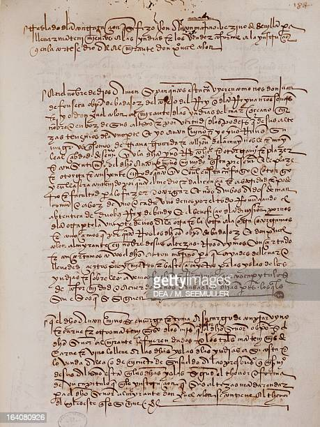 Marino Anton's written request for five caravels for Christopher Columbus's third voyage January 1 from the Livro das Armadas manuscript f 184 Lisbon...