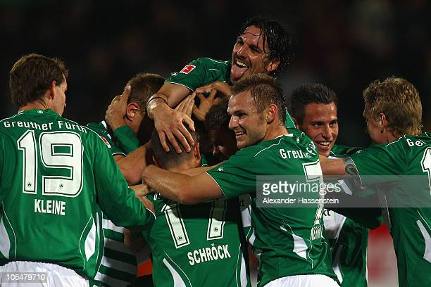 Marino Biliskov of Fuerth celebrates the 2nd team goal with his team mates during the Second Bundesliga match between SpVgg Greuther Fuerth and VfL...