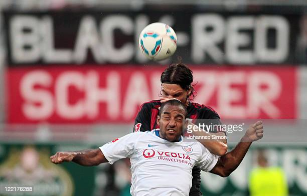Marino Biliskov of Ingolstadt fights for the ball with Philipp Lartey of Rostock during the Second Bundesliga match between FC Ingolstadt and Hansa...
