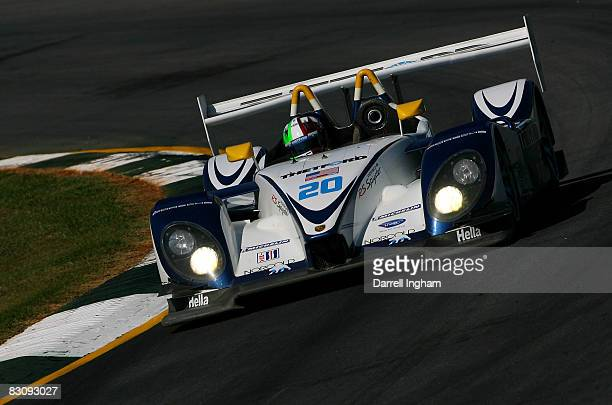 Marino Franchitti drives the Dyson Racing Team Porsche RS Spyder during practice for the American Le Mans Series Petit Le Mans on October 2, 2008 at...
