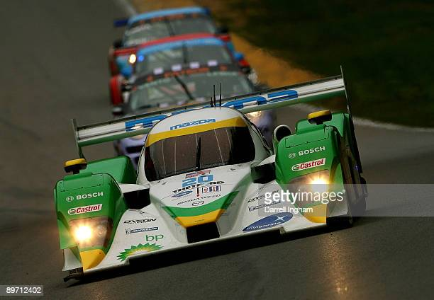 Marino Franchitti drives the LMP2 Dyson Racing Lola B09 Mazda during the American Le Mans Series Acura Sports Car Challenge on August 8 2009 at the...