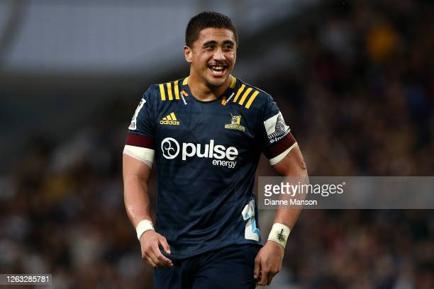 Marino Mikaele Tu'u of the Highlanders reacts during the round 8 Super Rugby Aotearoa match between the Highlanders and the Blues at Forsyth Barr...