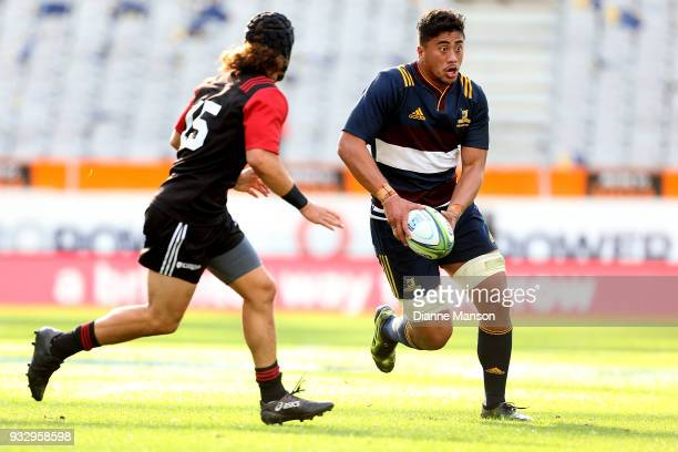 Marino MikaeleTu'u of the Highlanders Bravehearts runs the ball during the match between Crusaders Knights and Highlanders Bravehearts at Forsyth...