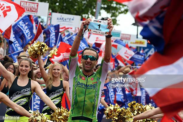 Marino Vanhoenacker of Belguim celebrates winning Ironman Austria on June 26, 2016 in Klagenfurt, Austria.