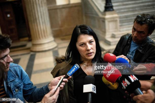 Marin's mother addresses journalists as she leaves on May 3 2018 the courthouse of Lyon central eastern France at the end of the second day of the...