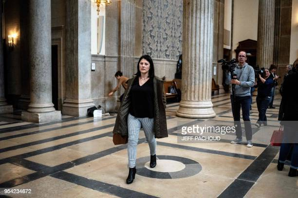 Marin's mother leaves on May 3 2018 the courthouse of Lyon central eastern France at the end of the second day of the trial of her son's aggressor...