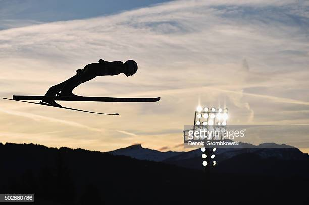 Marinus Kraus of Germany soars through the air during his competition jump on Day 2 of the 64th Four Hills Tournament event on December 29 2015 in...