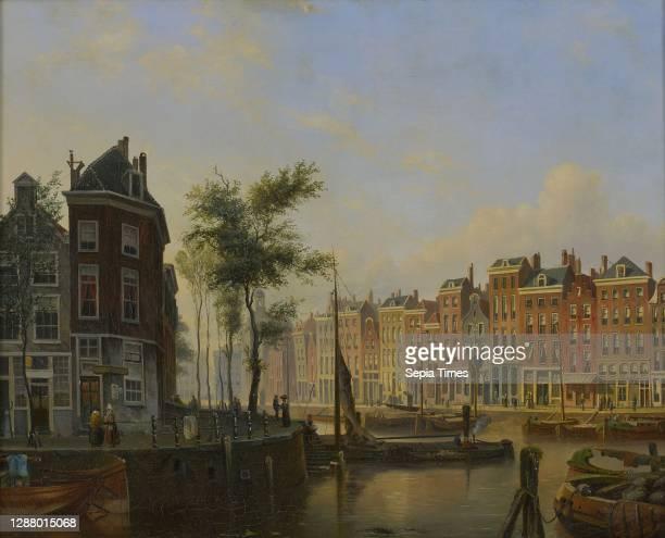 Marinus van Raden, Cityscape of Rotterdam: Westnieuwland and Steiger, cityscape painting imagery paint oil paint linen, Oil on canvas. Cityscape...