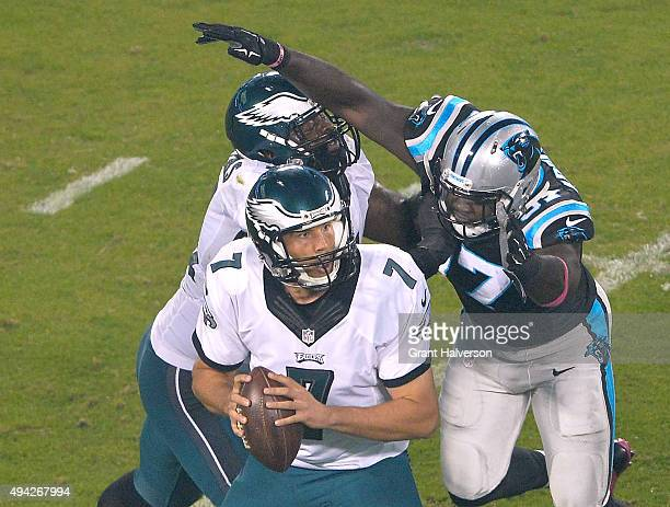 Mario Addison of the Carolina Panthers sacks Sam Bradford of the Philadelphia Eagles during their game at Bank of America Stadium on October 25 2015...
