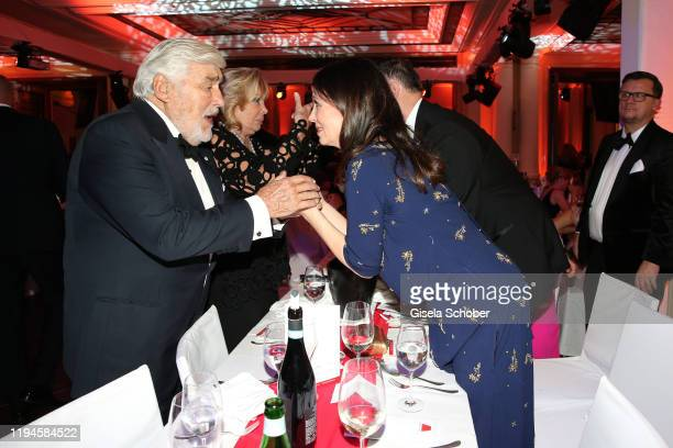 Mario Adorf and his wife Monique Adorf and Iris Berben and her partner Heiko Kiesow during the 47th German Film Ball party at Hotel Bayerischer Hof...