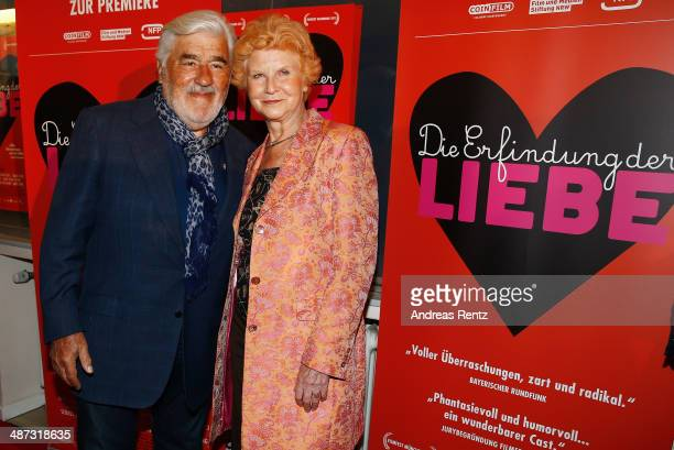 Mario Adorf and Irm Hermann attend the 'Die Erfindung der Liebe' Cologne Premiere at Odeon Lichtspieltheater on April 29 2014 in Cologne Germany