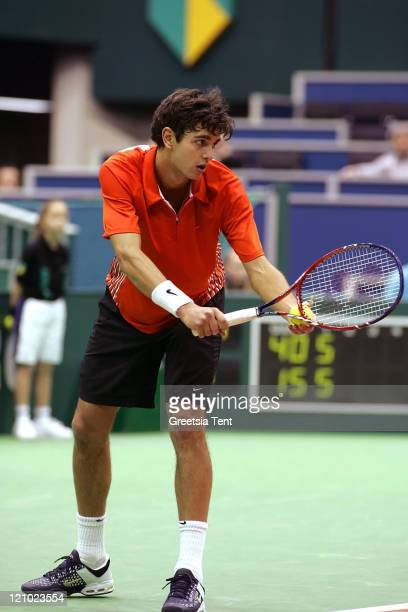 Mario Ancic in action against Jarkko Nieminen during their first round match during the ABN AMRO World Tennis Tournament at the Ahoy' in Rotterdam...