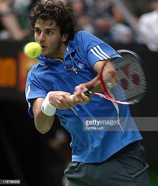 Mario Ancic of Croatia in action during his 63 36 61 57 64 loss to Andy Roddick of the USA in the fourth round of the Australian Open Melbourne...