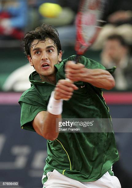 Mario Ancic of Croatia in action during his match against Nikolay Davydenko of Russia during Day five of the Tennis Masters Series Hamburg at...