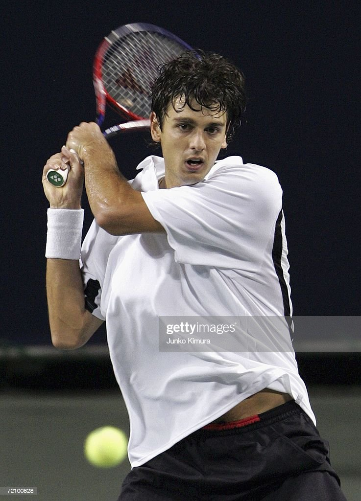 Mario Ancic of Croatia returns the ball against Rainer Schuettler of Germany during the AIG Japan Open Tennis Championship 2006 on October 6, 2006 in Tokyo, Japan. Ancic beat Schuettler by 6-2, 4-6, 6-4. The tournament takes place from October 2 to 8.