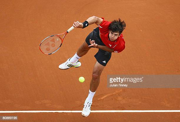 Mario Ancic of Croatia serves to Mischa Zverev of Germany during the Open Sabadell Atlantico Barcelona 2008 Tennis at the Real Club on April 28 2008...