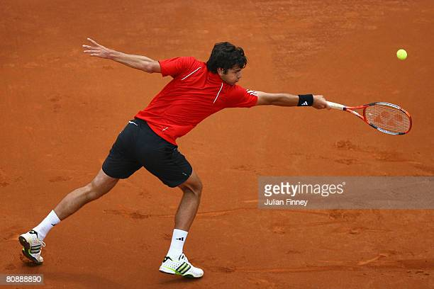 Mario Ancic of Croatia stretches for a backhand in his match against Mischa Zverev of Germany during the Open Sabadell Atlantico Barcelona 2008...