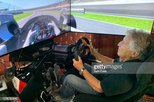 Mario Andretti during testing ahead of The Race All-Star Esports Series powered by ROKiT Phones at a virtual Indianapolis Motor Speedway on May 21,...