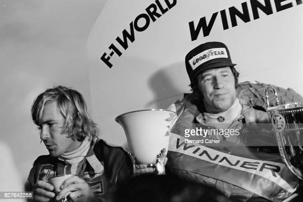 Mario Andretti James Hunt Grand Prix of Japan Fuji Speedway 24 October 1976 Mario Andretti winner of the Japanese Grand Prix and James Hunt the new...