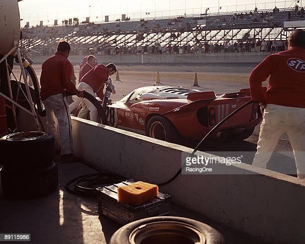 Mario Andretti makes a pit stop in the Luigi Chinetti Ferrari 512S during the 24 Hours of Daytona Andretti had already won the Indy 500 Daytona 500...