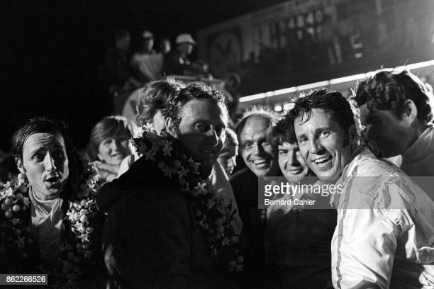 Mario Andretti, Nino Vaccarella, Ignazio Giunti, 12 Hours of Sebring, Sebring, 21 March 1970. An ecstatic Mario Andretti after his stupendous win in...