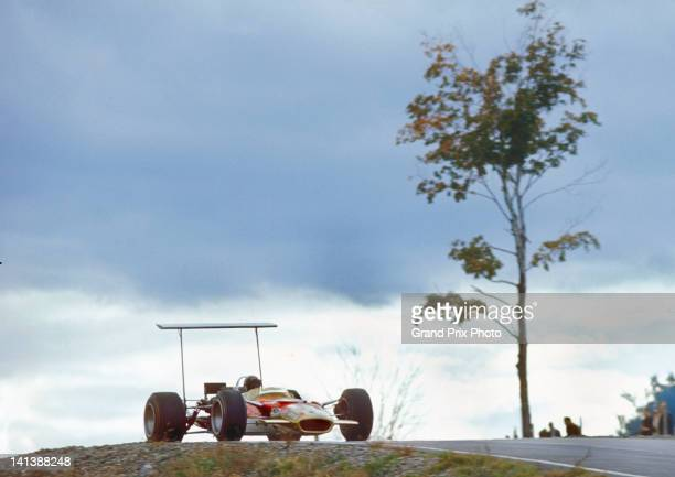 Mario Andretti of the United States drives the Gold Leaf Team Lotus Lotus 49B Ford V8 during practice for the XI United States Grand Prix on 5th...