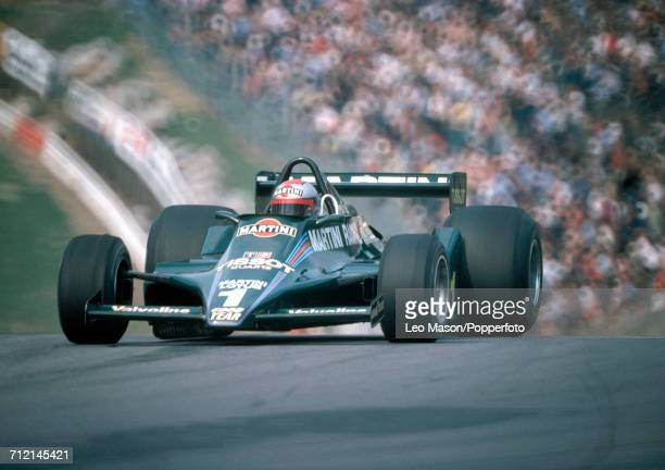 Mario Andretti of the United States enroute to a third place finish during the 1979 Race of Champions at Brands Hatch England driving a Lotus 80 with...