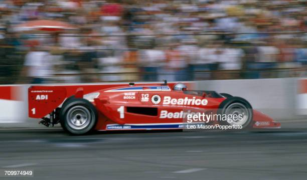 Mario Andretti of the United States enroute to winning the Toyota Grand Prix of Long Beach driving a Lola T900 Cosworth for Newman Haas Racing in...