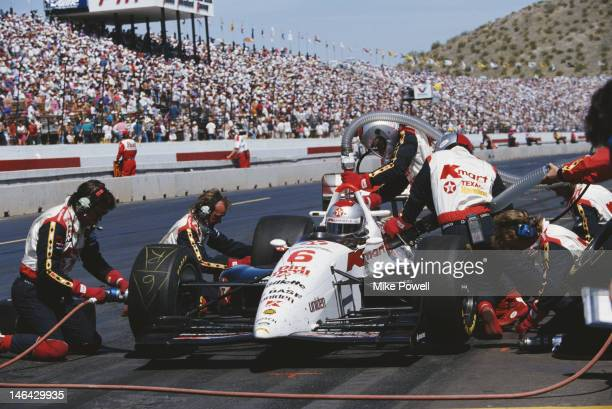Mario Andretti of the United States makes a pit stop in the Newman Haas Racing Lola T93/06 Ford XB Cosworth during the PPG CART Indy Car World Series...
